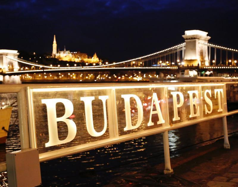 Budapest City and Bridge at Night