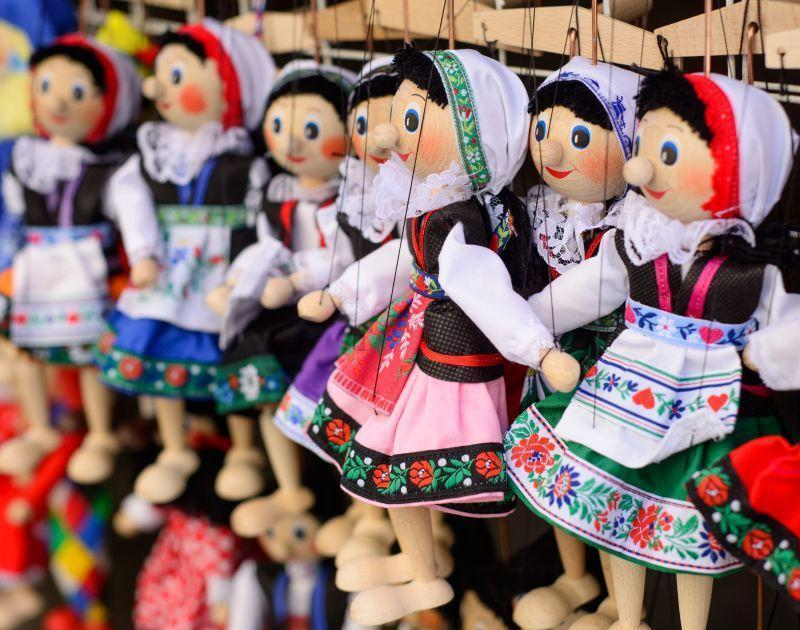 Colorful traditional Prague dolls