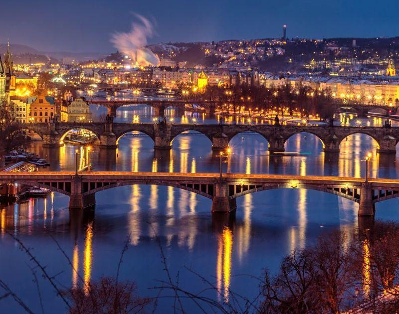 Prague by night - city view